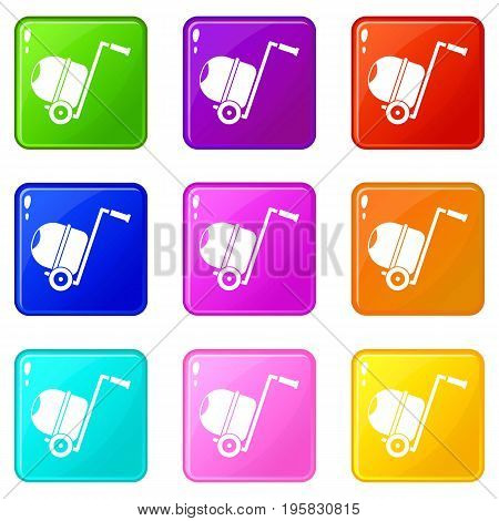 Concrete mixer icons of 9 color set isolated vector illustration