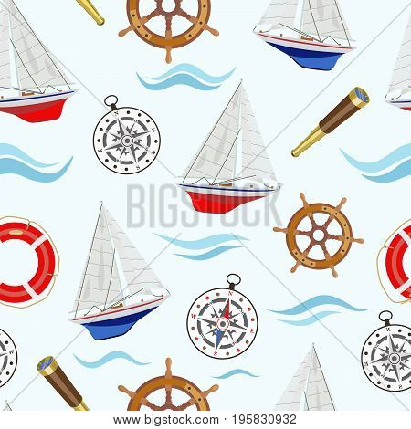 Vector pattern with sea regatta and attributes sailing yachts and a compass, steering wheel, life ring and a telescope on a light background among blue waves.
