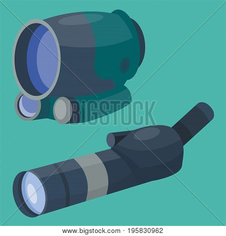 Professional binoculars glass look-see spyglass optic device camera digital focus optical equipment vector illustration. Lorgnette night-vision technology look-see instrument.