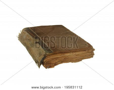 Very old and worn book isolated on white background.