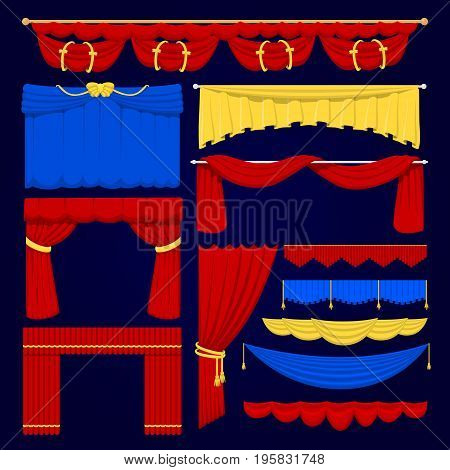 Theather scene red, blue and yellow blind curtain stage fabric texture isolated on a white background illustration.