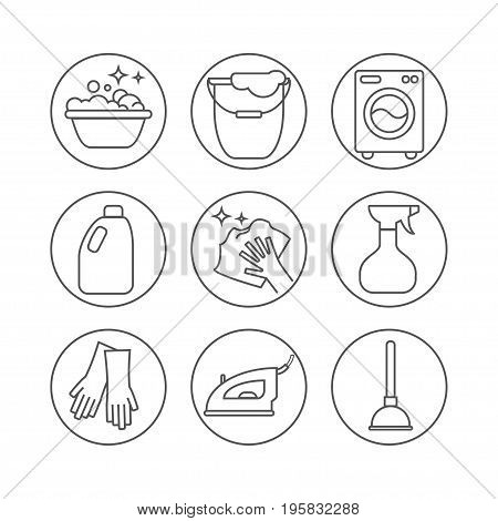 Clean wash line icons. Washing machine sponge mop iron vacuum cleaner shovel and other cleaning icon. Order in the house thin linear signs for cleaning service.