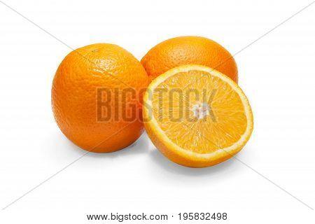 Ripe orange isolated on white background orange.