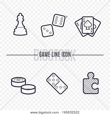 Games linear icons. Chess dice cards checkers and other board games. Game thin linear signs. Outline concept for websites infographic mobile app.