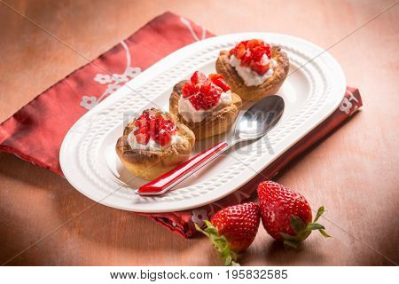 homemade strawberries pastry, selective focus
