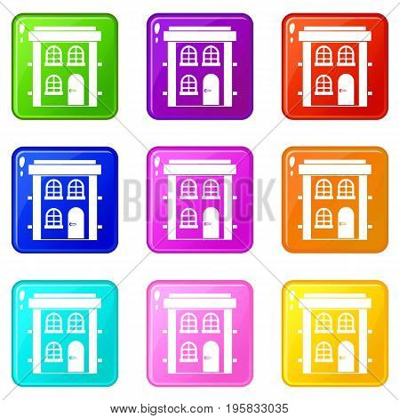 Two-storey residential house icons of 9 color set isolated vector illustration