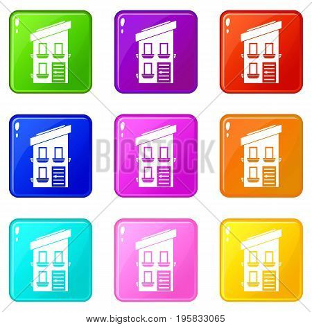 Two-storey house icons of 9 color set isolated vector illustration