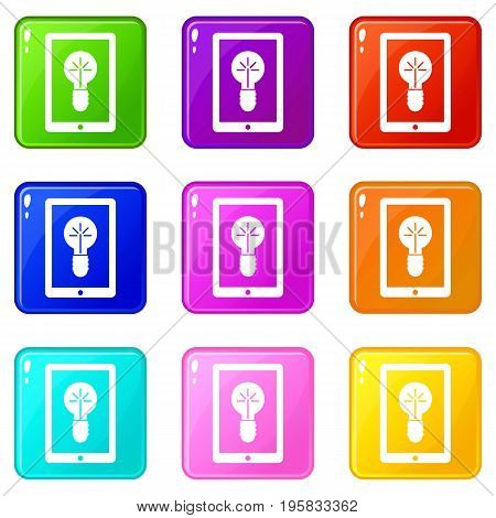 Idea lamp on gadget screen icons of 9 color set isolated vector illustration
