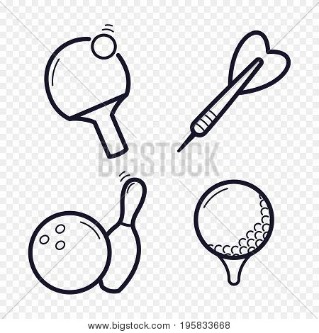 Games linear icons. Ping-pong, golf, bowling, darts leisure activities. Gambling, sport game line icons.