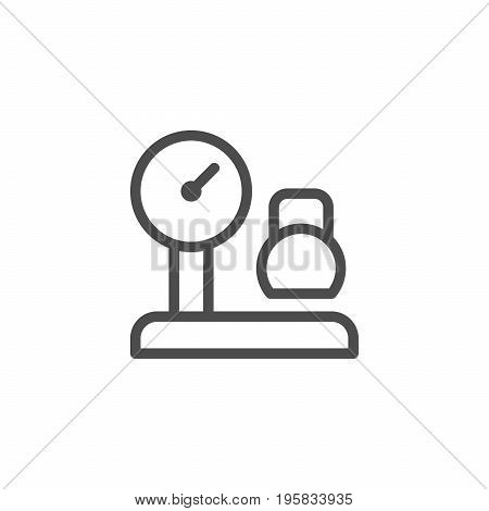Cargo weighing line icon isolated on white. Vector illustration