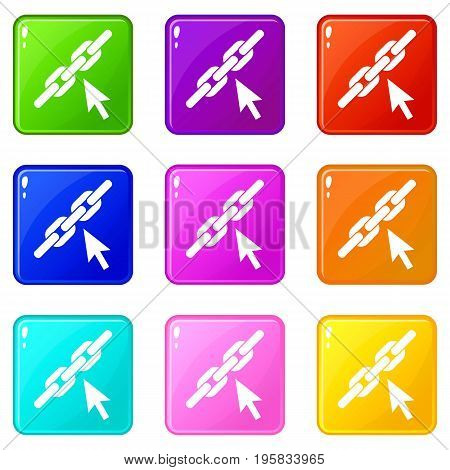 Chain link icons of 9 color set isolated vector illustration