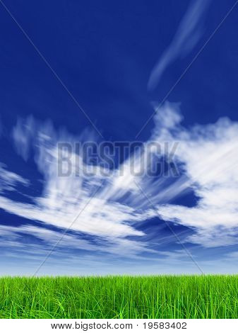high resolution 3d green grass over a blue sky with white clouds as background and a clear horizon