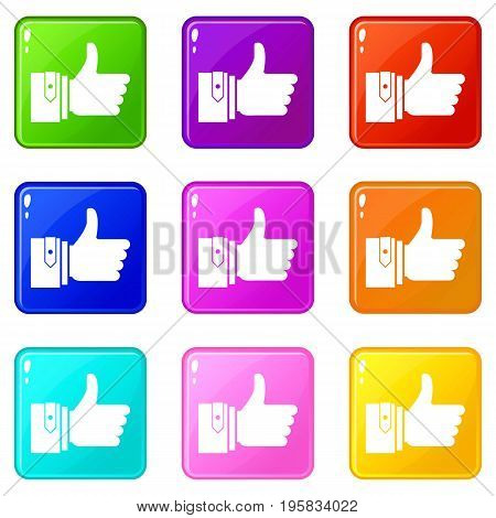 Thumbs up icons of 9 color set isolated vector illustration
