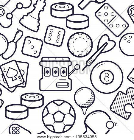 Games Simless Pattern. Ping-pong, Golf, Billiards, Darts Leisure Activities Background. Gambling, Sp