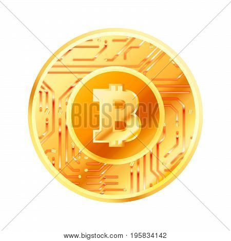 Bright golden coin with microchip pattern and Bitcoin sign. Cryptocurrency concept isolated on white