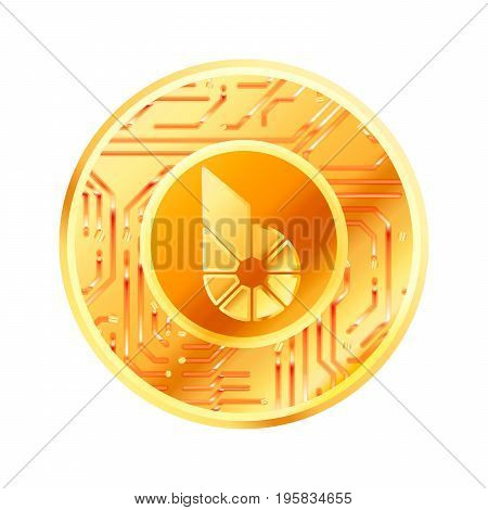 Bright golden coin with microchip pattern and BitShares sign. Cryptocurrency concept isolated on white