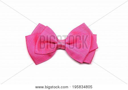 Pink bow, white background, knot or doll.