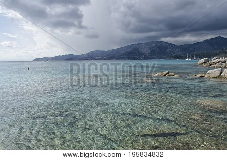 View of turquoise sea in South Sardinia