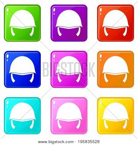 Military helmet icons of 9 color set isolated vector illustration