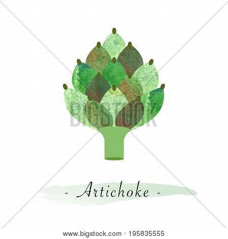 Colorful Watercolor Texture Vector Healthy Vegetable Artichoke