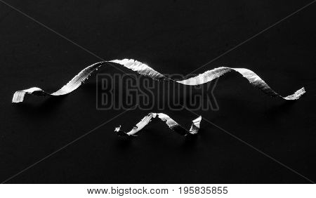 Aluminum shavings Twist spiral close up isolated