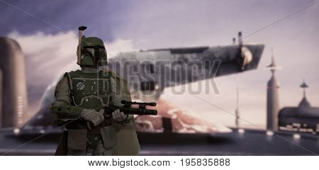 Scene from Star Wars The Empire Strikes Back where bounty hunter Boba Fett arrives on Bespin - Hasbro Black Series 6 inch action figure