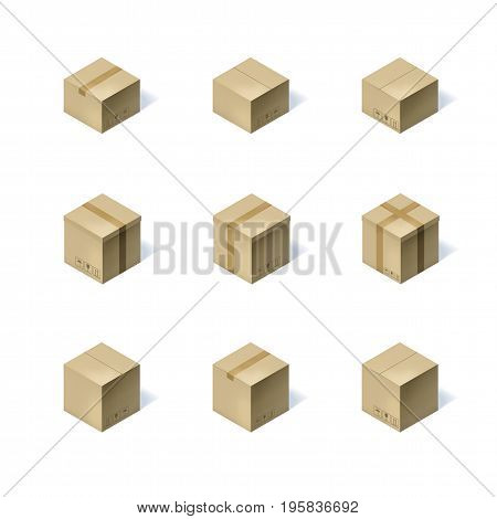 Set of nine isometric cardboard boxes isolated on white background. Vector illustration
