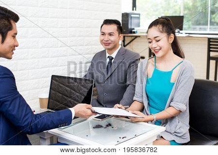 Asian Women Working At Restuarant Woman Interview Businessman For Working Job Portrait Business Conc