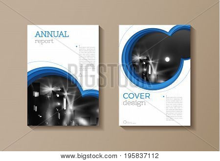 blue Circle modern cover Brochure template design annual report magazine and flyer layout Vector a4