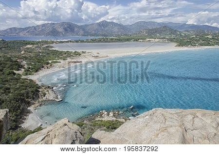View of the coastline of the South Sardinia