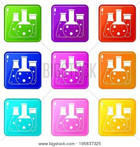 Laboratory flasks icons of 9 color set isolated vector illustration