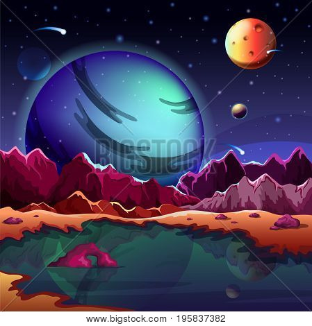 Cartoon planet landscape or scenery terrain, ground with lake and mountains or rocks, stars or planets in sky. Satellite land. Astronomy and astrology, exploration and science, universe, galaxy theme