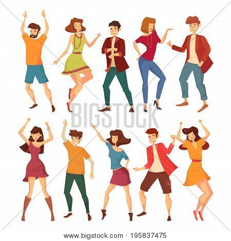 Set of dancing woman with raised hands and man in jackets and t-shirt, lady with necklace and male dancer moving body at music party. Disco or discotheque, nightclub and dance floor theme