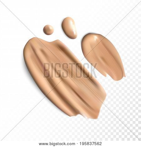 Cosmetic concealer smear strokes on transparent background, tone cream smudged Vector.