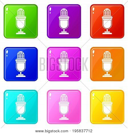 Lighting equipment icons of 9 color set isolated vector illustration