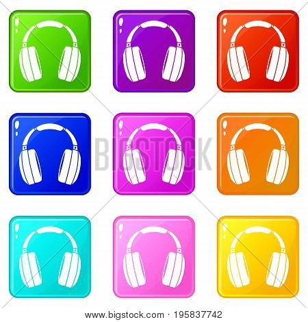 Headphones icons of 9 color set isolated vector illustration