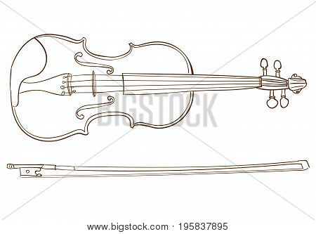 Violin detailed sketch, outline. Isolated on white VECTOR illustration