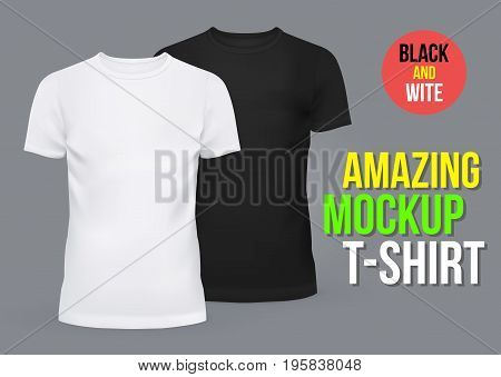 Amazing mockup blank t-shirts for men and women. Summer clothing with u-neck at front. Dress for man and woman, male and female, boy and girl. Summer fashion and cloth, sportswear theme