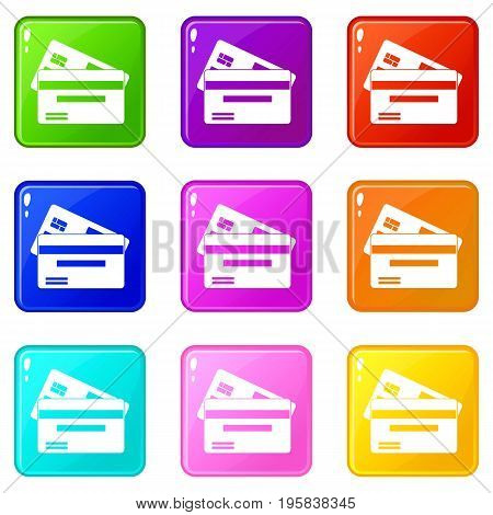 Credit card icons of 9 color set isolated vector illustration