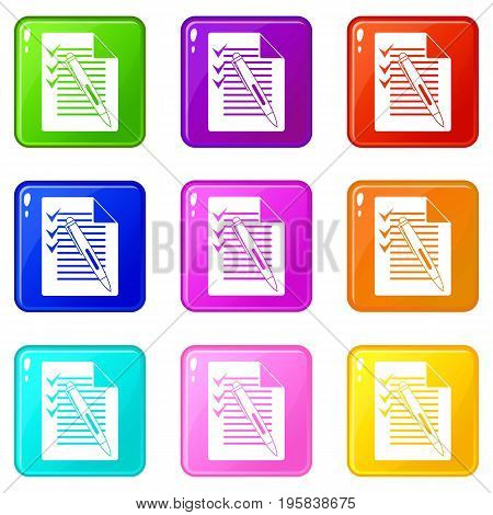 Document with plan and pen icons of 9 color set isolated vector illustration