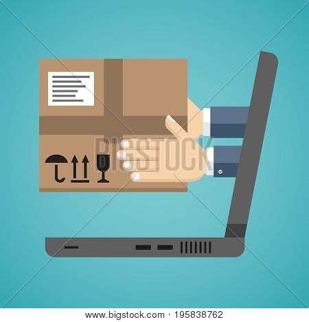 Concept of the fast delivery service. Hands from the laptop holding a box. Flat vector illustration.