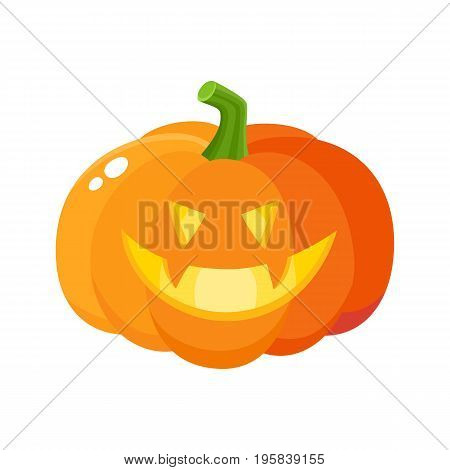 Laughing, grinning pumpkin jack-o-lantern with vampire teeth, Halloween symbol, cartoon vector illustration isolated on white background. Pumpkin lantern with grinning face, Halloween decoration