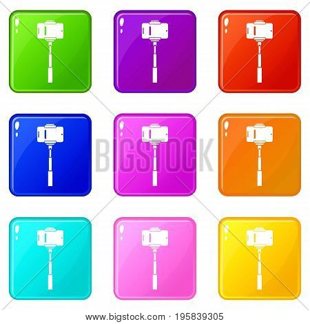 Mobile phone on a selfie stick icons of 9 color set isolated vector illustration