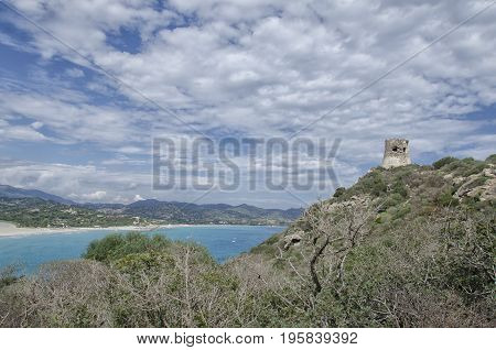 View of the landscape of the South Sardinia