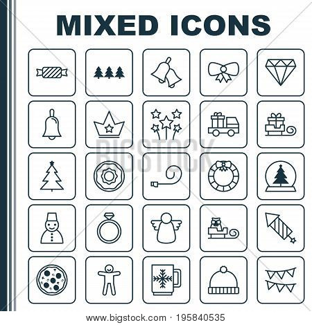 Christmas Icons Set. Collection Of Snow Person, Wedding Jewel, Brilliant And Other Elements