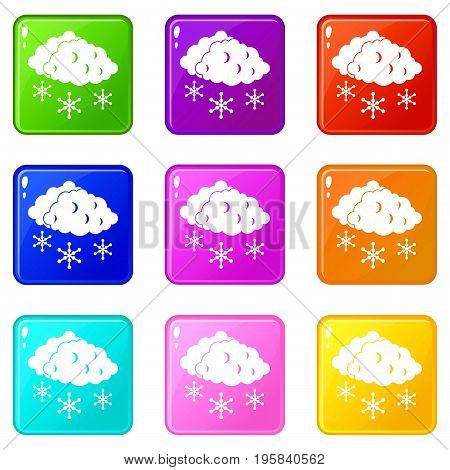 Clouds and snow icons of 9 color set isolated vector illustration