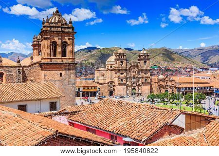 Cusco Peru the historic capital of the Inca Empire. Plaza de Armas.