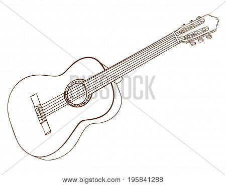 Line art of acoustic guitar isolated on white. Dark brown lines. VECTOR sketch