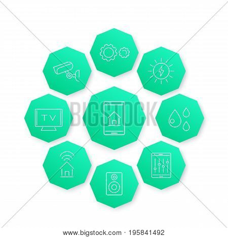 Smart House line icon, modern pictograms on green octagon shapes