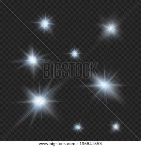 flares, sparkles, rays, beams, cold light vector effects, eps 10 file, easy to edit